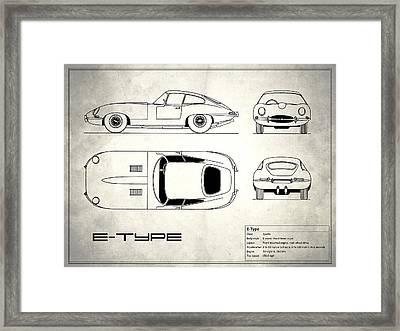 Jaguar E Type Blueprint Design Framed Print by Mark Rogan