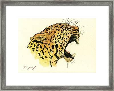 Jaguar Head Painting Watercolor Framed Print by Juan  Bosco