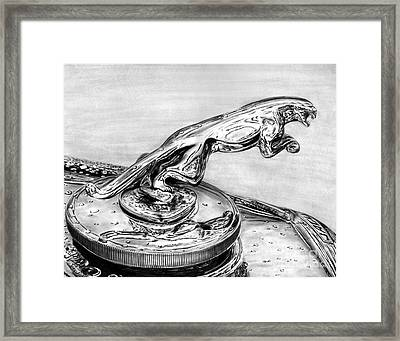 Jaguar Hood Emblem     Framed Print by Peter Piatt