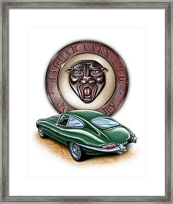 Jaguar Xke British Racing Green Framed Print by David Kyte