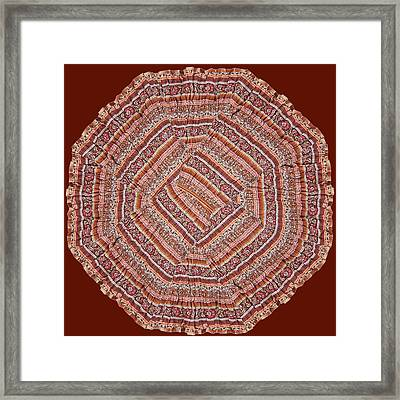 Jaipur Cotton Fabric Print Patchup Work Quilt Style Red Rose Spread On Gold Pattern Quilt Exotic Ind Framed Print by Navin Joshi
