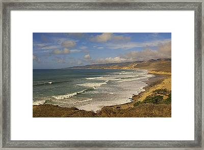 Jalama Beach From Blufftop Framed Print by Ron Regalado
