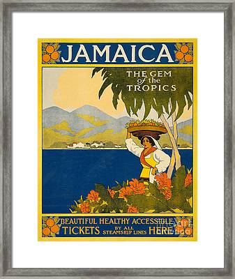 Jamaica  Vintage Travel Poster Framed Print by American School