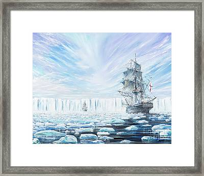 James Clark Ross Discovers Antarctic Ice Shelf Framed Print by Vincent Alexander Booth