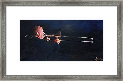 James Morrison And His Trombone  Autographed Framed Print by Dave Manning