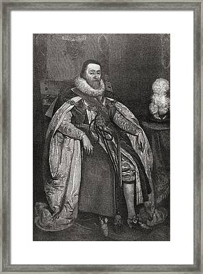 James Vi And I, C1566 To 1625. King Of Framed Print by Vintage Design Pics