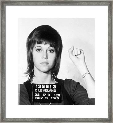 Jane Fonda Mug Shot Vertical Framed Print by Tony Rubino