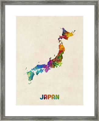 Japan Watercolor Map Framed Print by Michael Tompsett