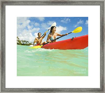 Japanese Couple Kayaking Framed Print by Dana Edmunds - Printscapes