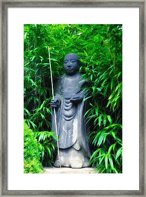 Japanese House Monk Statue Framed Print by Bill Cannon