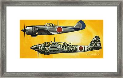 Japanese Nakajima Hayabusa And Kawasaki Hien Fighters Framed Print by Wilf Hardy