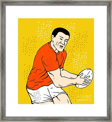 Japanese Rugby Player Passing Ball Framed Print by Aloysius Patrimonio