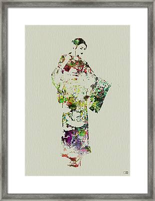 Japanese Woman In Kimono Framed Print by Naxart Studio