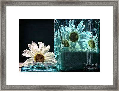 Jar Of Daisies Framed Print by Sari Sauls