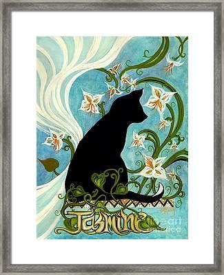 Jasmine On My Mind - Black Cat In Window Framed Print by Janine Riley