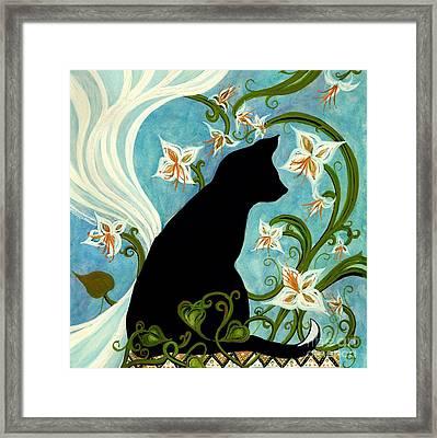 Jasmine On My Mind - Le Chat Noir Framed Print by Janine Riley
