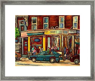 Java U Coffee Shop Montreal Painting By Streetscene Specialist Artist Carole Spandau Framed Print by Carole Spandau