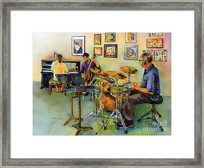 Jazz At The Gallery Framed Print by Hailey E Herrera