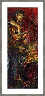 Jazz Bass Guitarist Framed Print by Yuriy  Shevchuk