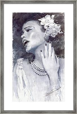 Jazz Billie Holiday Framed Print by Yuriy  Shevchuk