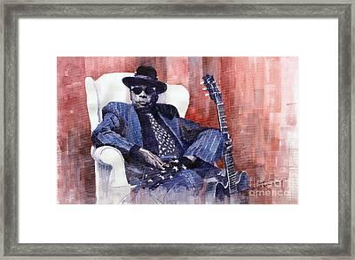 Jazz Bluesman John Lee Hooker 02 Framed Print by Yuriy  Shevchuk