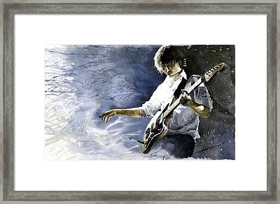 Jazz Guitarist Last Accord Framed Print by Yuriy  Shevchuk
