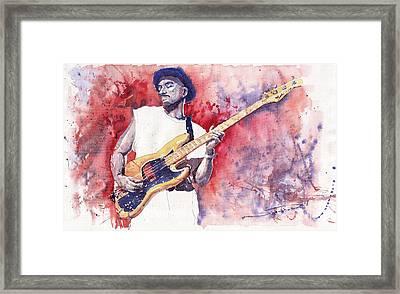Jazz Guitarist Marcus Miller Red Framed Print by Yuriy  Shevchuk