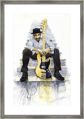 Jazz Marcus Miller 4 Framed Print by Yuriy  Shevchuk