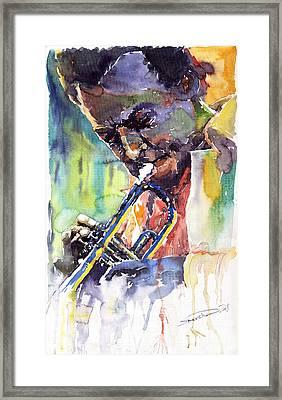 Jazz Miles Davis 9 Blue Framed Print by Yuriy  Shevchuk
