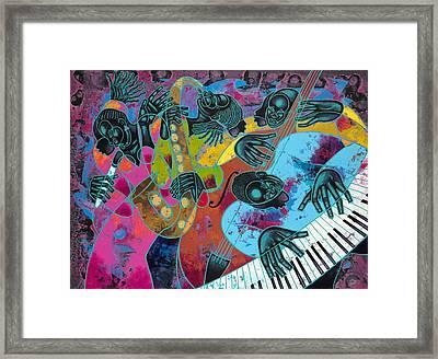 Jazz On Ogontz Ave. Framed Print by Larry Poncho Brown