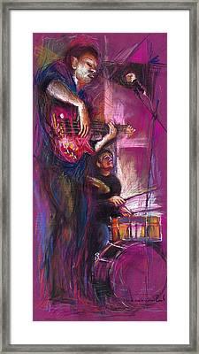 Jazz Purple Duet Framed Print by Yuriy  Shevchuk
