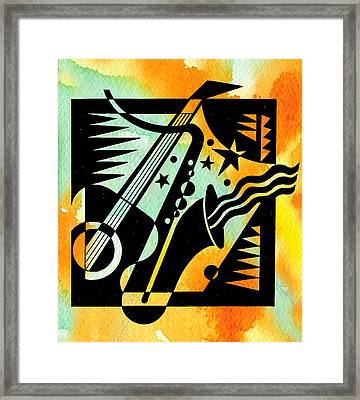 Jazz Relaxation Framed Print by Leon Zernitsky