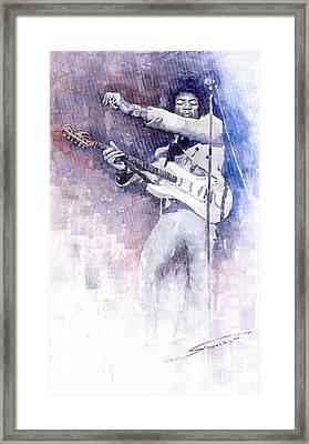 Jazz Rock Jimi Hendrix 07 Framed Print by Yuriy  Shevchuk