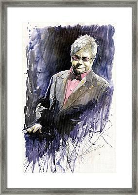 Jazz Sir Elton John Framed Print by Yuriy  Shevchuk