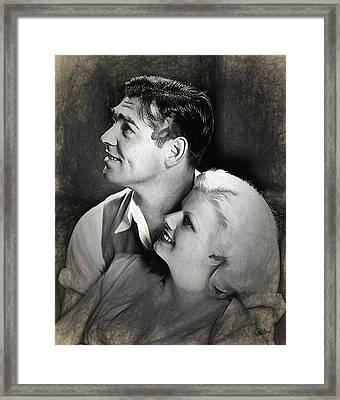 Jean Harlow - Clark Gable Framed Print by Quim Abella