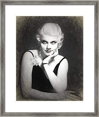 Jean Harlow Pencil Framed Print by Quim Abella