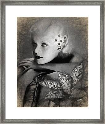 Jean Harlow Sketch Framed Print by Quim Abella