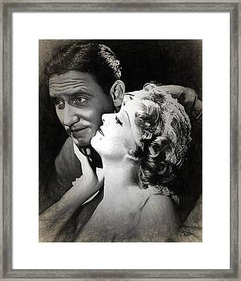 Jean Harlow - Spencer Tracy Draw Framed Print by Quim Abella