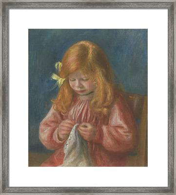 Jean Renoir Sewing Framed Print by Pierre Auguste Renoir