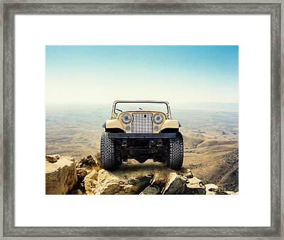 Jeep On Mountain Framed Print by Brian Kinney