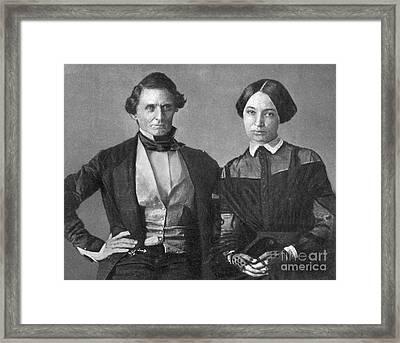 Jefferson Davis And Varina Howell Davis Framed Print by Photo Researchers