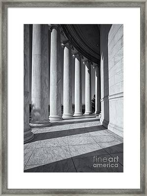 Jefferson Memorial Columns And Shadows Framed Print by Clarence Holmes