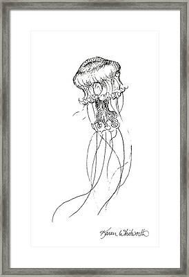 Jellyfish Sketch - Black And White Nautical Theme Decor Framed Print by Karen Whitworth
