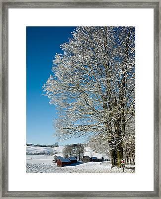 Jenne Farm Winter In Vermont Framed Print by Edward Fielding