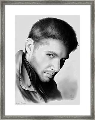 Jensen Ackles Framed Print by Greg Joens