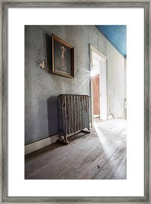 Jesus Above The Heater - Abandoned Building Framed Print by Dirk Ercken