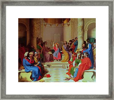 Jesus Among The Doctors Framed Print by Ingres