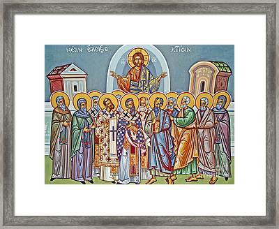 Jesus Christ And His Twelve Apostles Framed Print by Cypriot School