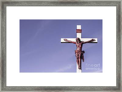 Jesus Crucifix Against The Sky Framed Print by Gary Whitton
