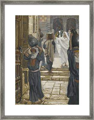 Jesus Forbids The Carrying Of Loads In The Forecourt Of The Temple Framed Print by Tissot